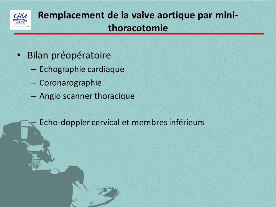 Remplacement de la valve aortique par mini- thoracotomie Bilan préopératoire – Echographie cardiaque – Coronarographie – Angio scanner thoracique – Ec