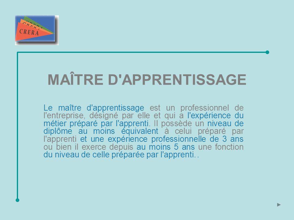MAÎTRE D APPRENTISSAGE Le maître d apprentissage est un professionnel de l entreprise, désigné par elle et qui a l expérience du métier préparé par l apprenti.