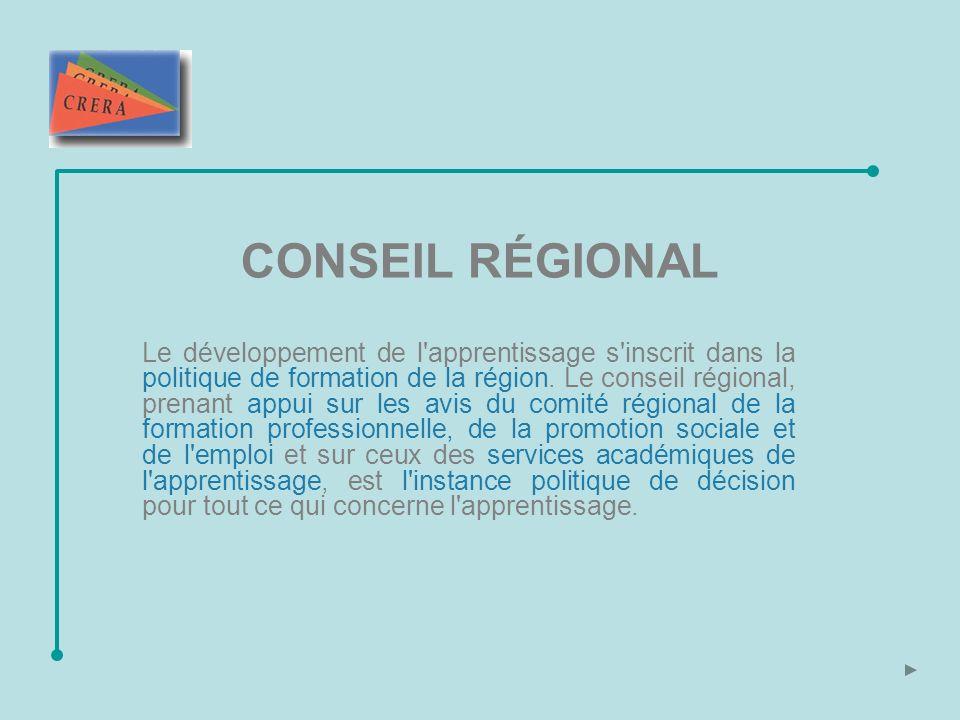 CONSEIL RÉGIONAL Le développement de l apprentissage s inscrit dans la politique de formation de la région.