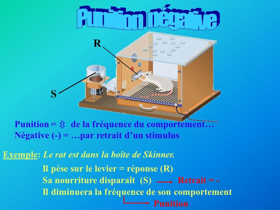 Punition = de la fréquence du comportement… Positive (+) = …par ajout dun stimulus Exemple: Le rat est dans la boîte de Skinner.