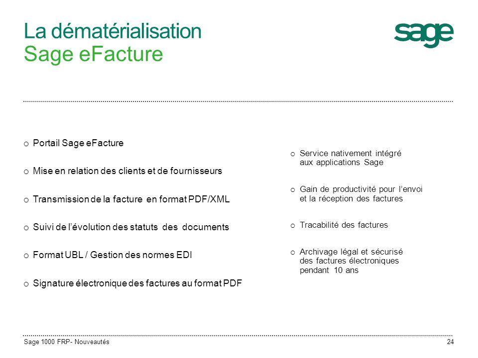La dématérialisation Sage eFacture o Service nativement intégré aux applications Sage o Gain de productivité pour lenvoi et la réception des factures