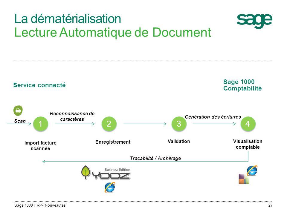 La dématérialisation Lecture Automatique de Document 4 4 Visualisation comptable Génération des écritures Import facture scannée 1 1 2 2 Enregistremen
