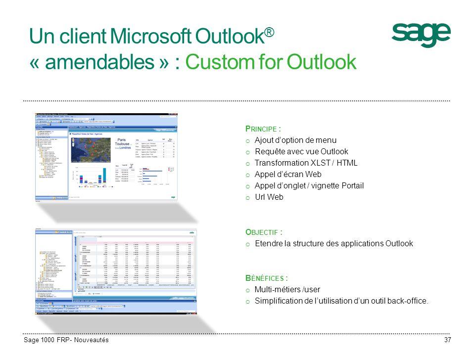 Un client Microsoft Outlook ® « amendables » : Custom for Outlook P RINCIPE : o Ajout doption de menu o Requête avec vue Outlook o Transformation XLST