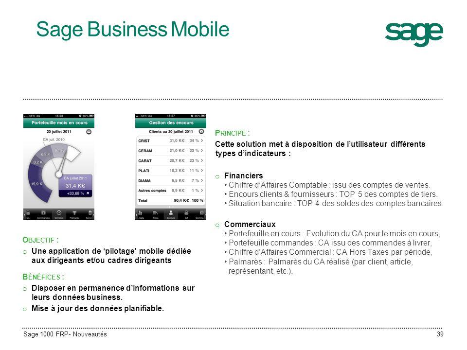 Sage Business Mobile P RINCIPE : Cette solution met à disposition de lutilisateur différents types dindicateurs : o Financiers Chiffre dAffaires Compt