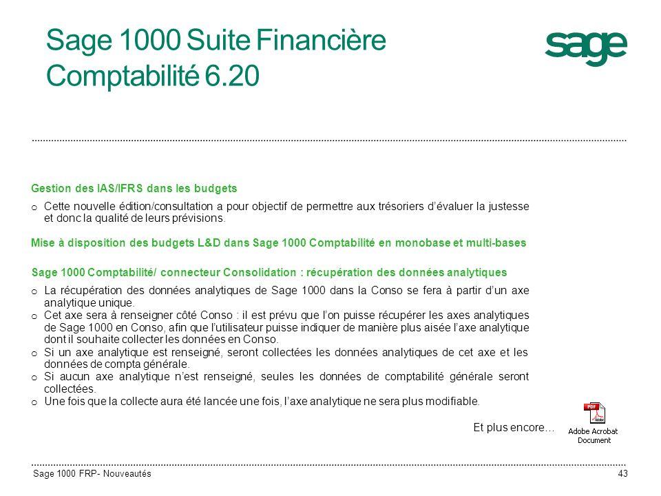 Sage 1000 Suite Financière Comptabilité 6.20 Gestion des IAS/IFRS dans les budgets o Cette nouvelle édition/consultation a pour objectif de permettre