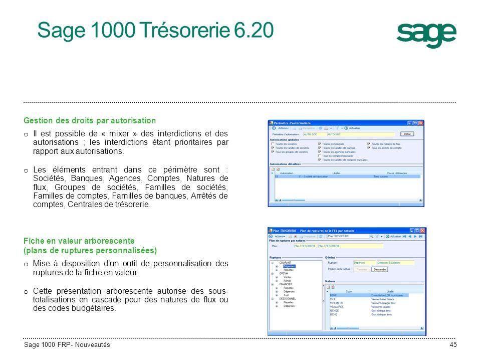 Sage 1000 Trésorerie 6.20 Sage 1000 FRP- Nouveautés45 Gestion des droits par autorisation o Il est possible de « mixer » des interdictions et des auto