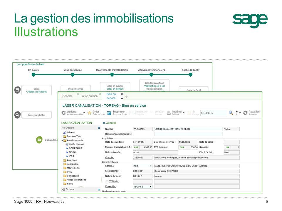 La gestion des immobilisations Illustrations Sage 1000 FRP- Nouveautés6