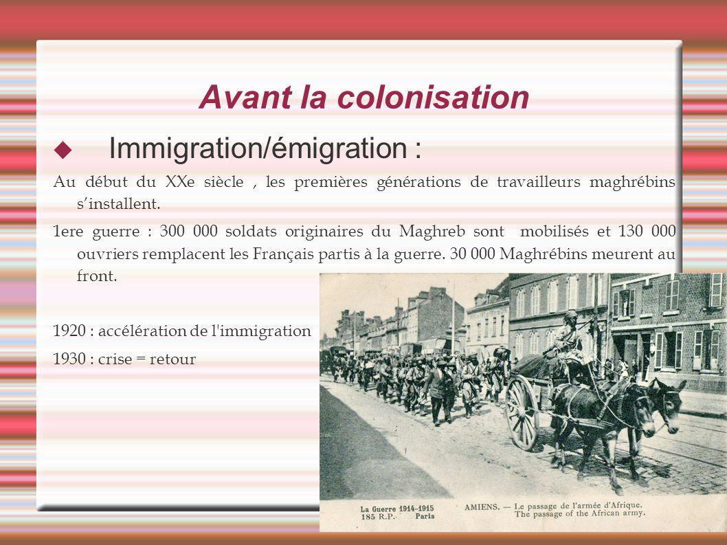 Avant la colonisation Immigration/émigration : Au début du XXe siècle, les premières générations de travailleurs maghrébins sinstallent. 1ere guerre :
