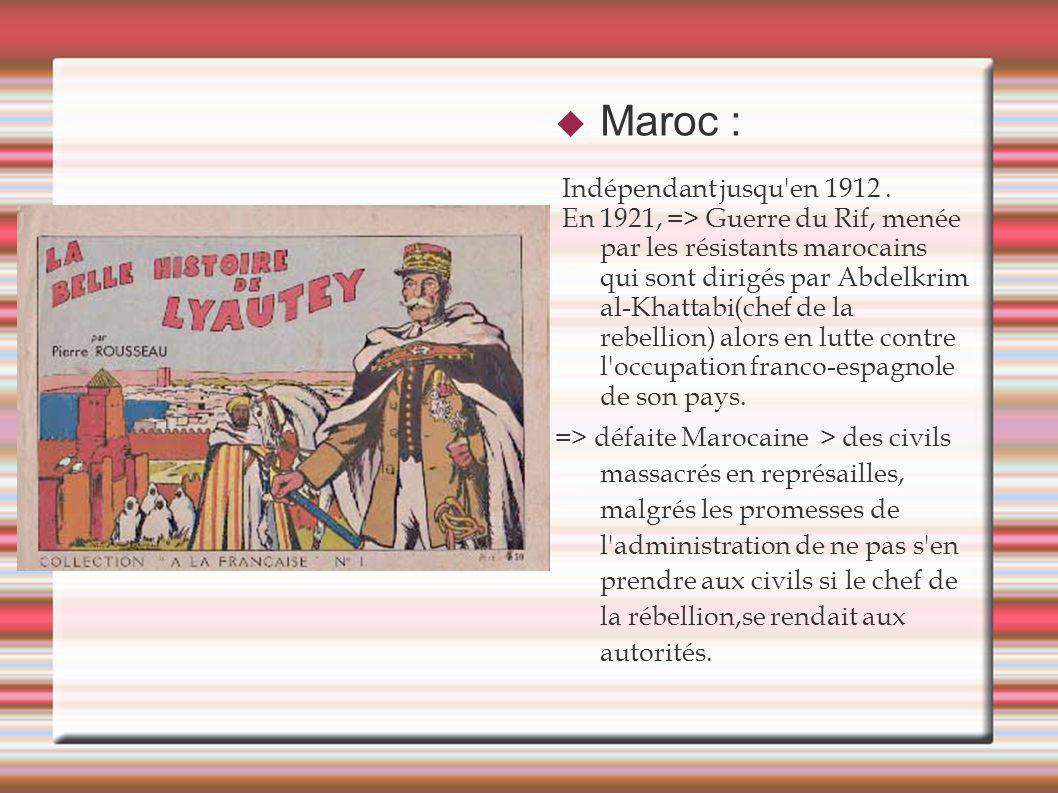 Maroc : Indépendant jusqu'en 1912. En 1921, => Guerre du Rif, menée par les résistants marocains qui sont dirigés par Abdelkrim al-Khattabi(chef de la