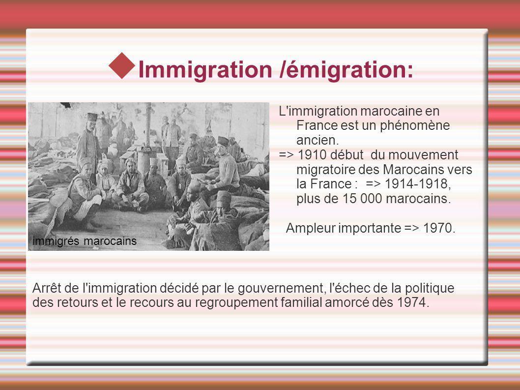 Immigration /émigration: L'immigration marocaine en France est un phénomène ancien. => 1910 début du mouvement migratoire des Marocains vers la France
