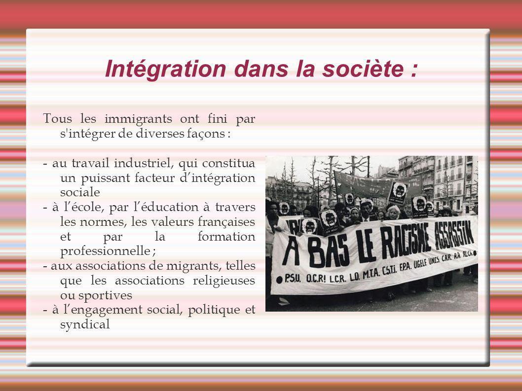 Intégration dans la sociète : Tous les immigrants ont fini par s'intégrer de diverses façons : - au travail industriel, qui constitua un puissant fact