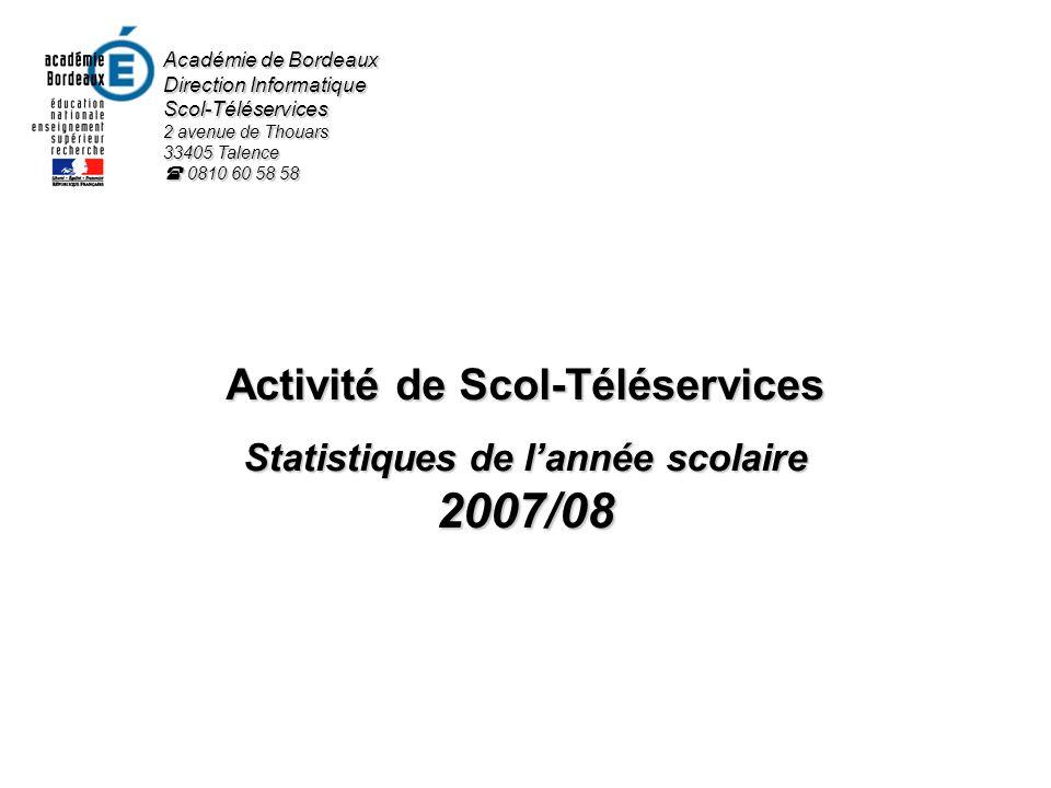 Activité de Scol-Téléservices Statistiques de lannée scolaire 2007/08 Académie de Bordeaux Direction Informatique Scol-Téléservices 2 avenue de Thouar