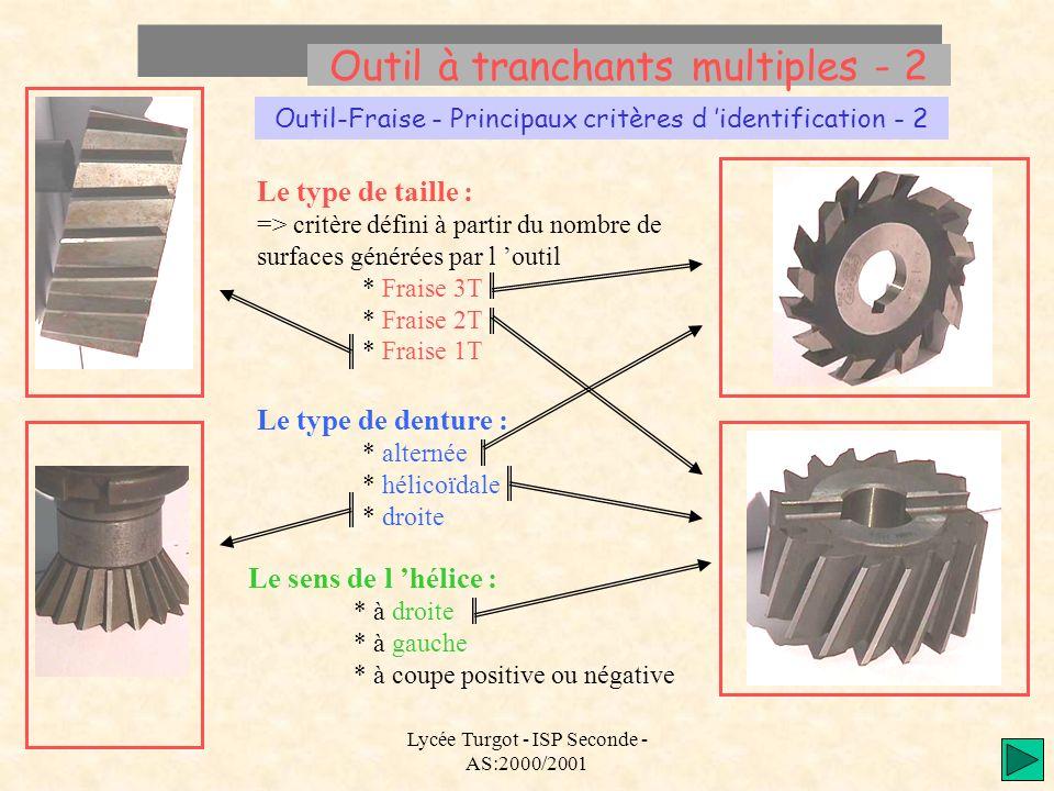 Lycée Turgot - ISP Seconde - AS:2000/2001 Outil à tranchants multiples - 2 Outil-Fraise - Principaux critères d identification - 2 Le type de taille :