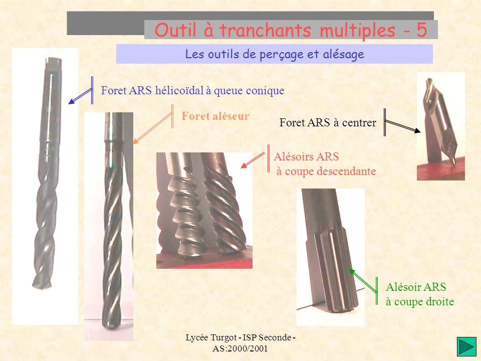 Lycée Turgot - ISP Seconde - AS:2000/2001 Outil à tranchants multiples - 5 Les outils de perçage et alésage Foret ARS hélicoïdal à queue conique Aléso