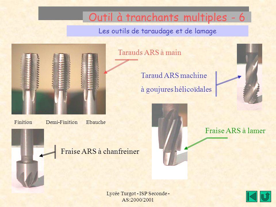 Lycée Turgot - ISP Seconde - AS:2000/2001 Outil à tranchants multiples - 6 Les outils de taraudage et de lamage Tarauds ARS à main Finition Demi-Finit