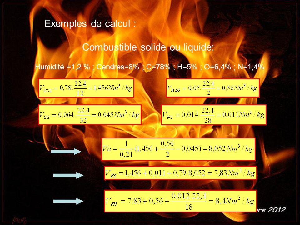 Exemples de calcul : Combustible solide ou liquide: Humidité =1,2 % ; Cendres=8% ; C=78% ; H=5% ; O=6,4% ; N=1,4%