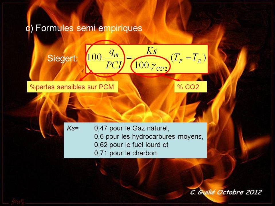 c) Formules semi empiriques Siegert: %pertes sensibles sur PCM% CO2 Ks=0,47 pour le Gaz naturel, 0,6 pour les hydrocarbures moyens, 0,62 pour le fuel
