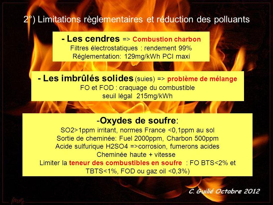 2°) Limitations règlementaires et réduction des polluants - Les cendres => Combustion charbon Filtres électrostatiques : rendement 99% Réglementation:
