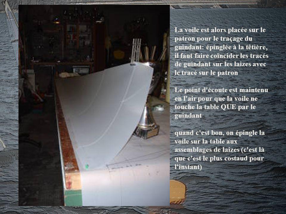 La voile est alors placée sur le patron pour le traçage du guindant: épinglée à la têtière, il faut faire coïncider les tracés de guindant sur les lai
