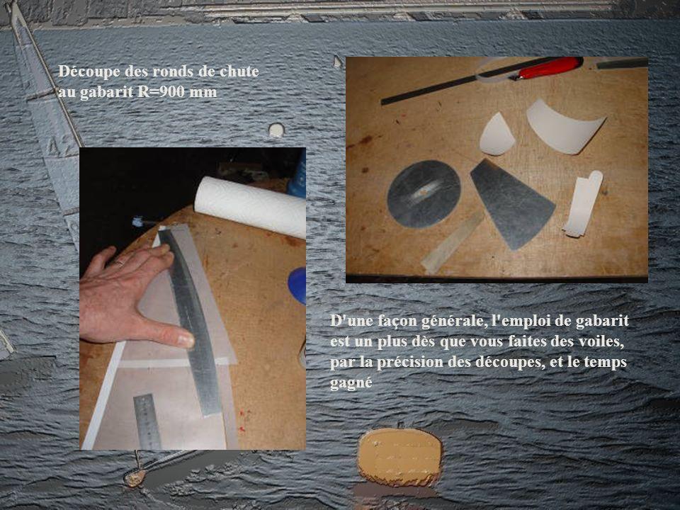 D'une façon générale, l'emploi de gabarit est un plus dès que vous faites des voiles, par la précision des découpes, et le temps gagné Découpe des ron