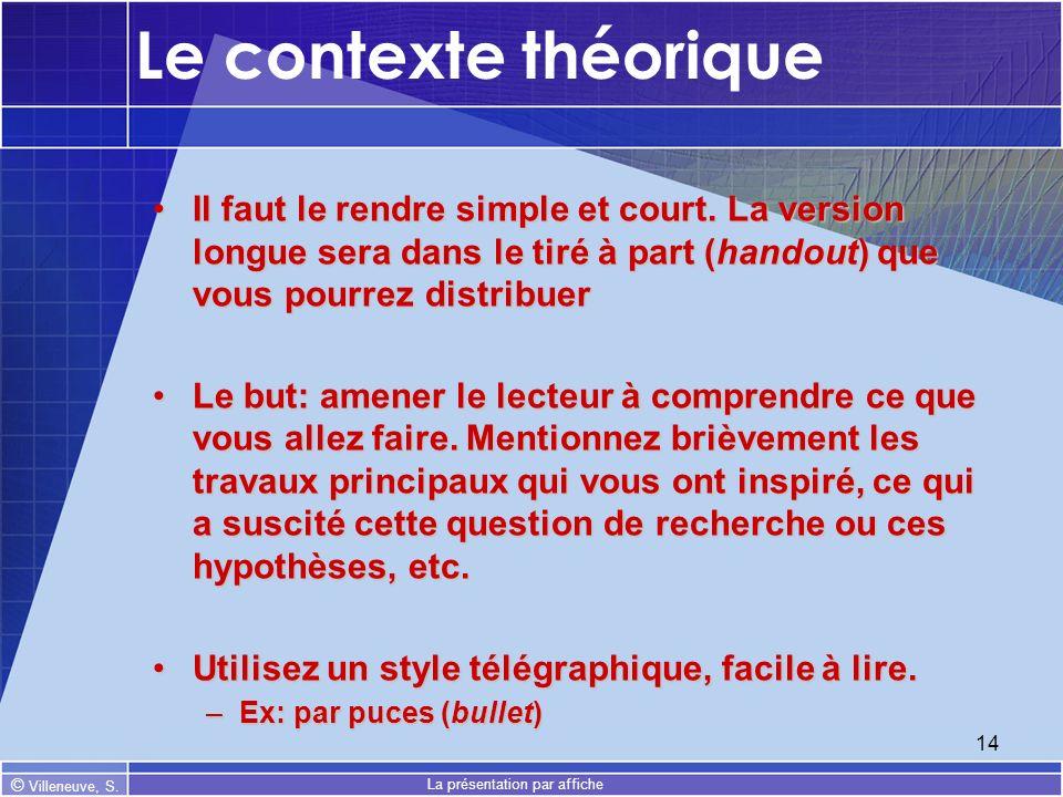 © Villeneuve, S. La présentation par affiche 14 Le contexte théorique Il faut le rendre simple et court. La version longue sera dans le tiré à part (h