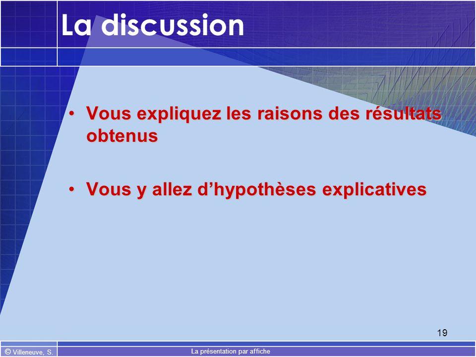 © Villeneuve, S. La présentation par affiche 19 La discussion Vous expliquez les raisons des résultats obtenusVous expliquez les raisons des résultats