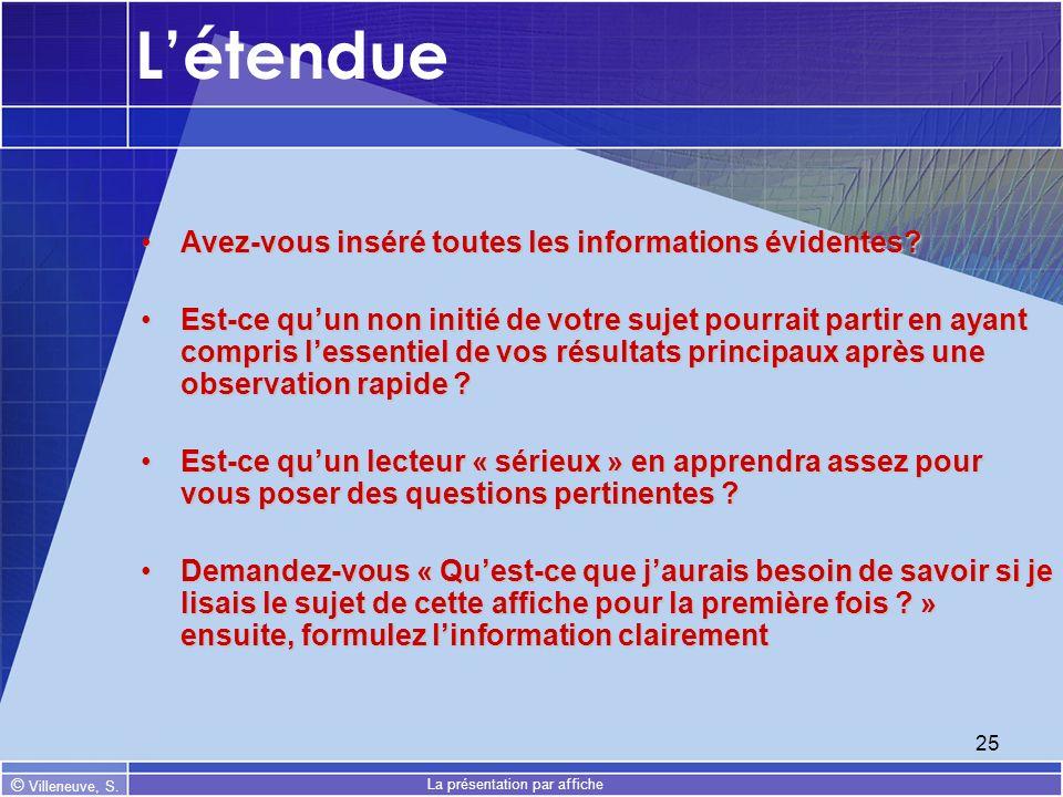 © Villeneuve, S. La présentation par affiche 25 Létendue Avez-vous inséré toutes les informations évidentes?Avez-vous inséré toutes les informations é