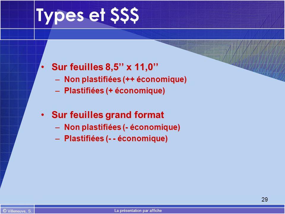 © Villeneuve, S. La présentation par affiche 29 Types et $$$ Sur feuilles 8,5 x 11,0Sur feuilles 8,5 x 11,0 –Non plastifiées (++ économique) –Plastifi