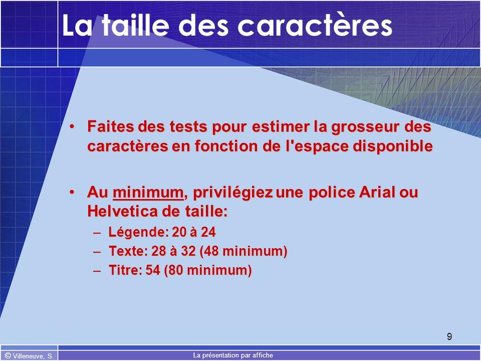© Villeneuve, S. La présentation par affiche 9 La taille des caractères Faites des tests pour estimer la grosseur des caractères en fonction de l'espa