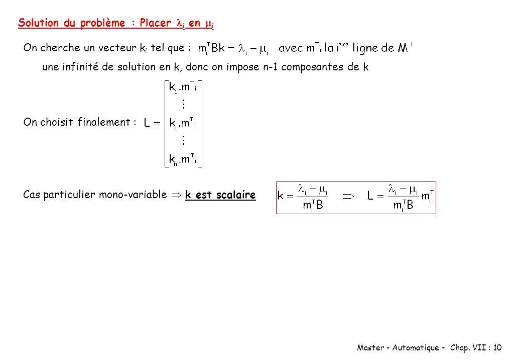 Master - Automatique - Chap. VII : 10 Solution du problème : Placer i en i On cherche un vecteur k i tel que : une infinité de solution en k, donc on