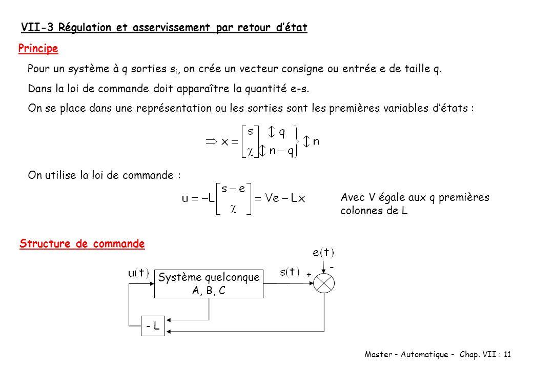 Master - Automatique - Chap. VII : 11 VII-3 Régulation et asservissement par retour détat Pour un système à q sorties s i, on crée un vecteur consigne