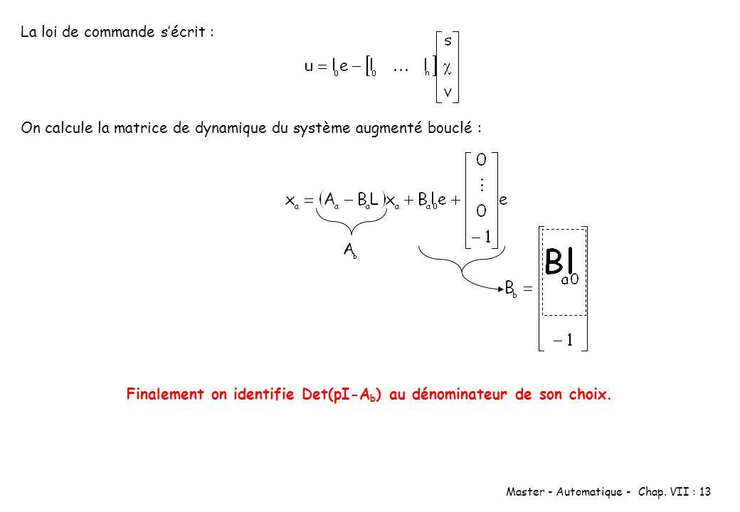 Master - Automatique - Chap. VII : 13 On calcule la matrice de dynamique du système augmenté bouclé : La loi de commande sécrit : Finalement on identi