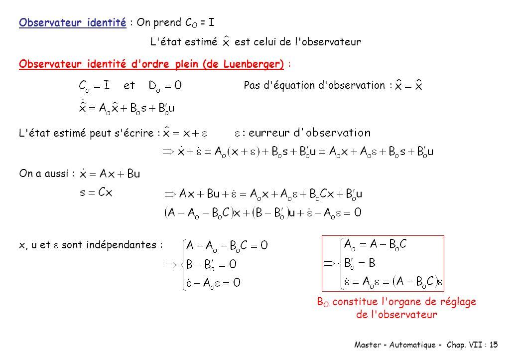 Master - Automatique - Chap. VII : 15 Observateur identité : On prend C O = I L'état estimé est celui de l'observateur Observateur identité d'ordre pl