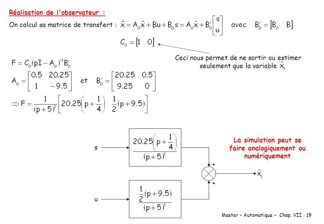 Master - Automatique - Chap. VII : 19 Réalisation de l'observateur : On calcul sa matrice de transfert : Ceci nous permet de ne sortir ou estimer seul