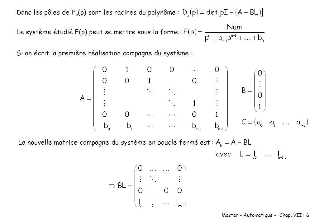 Master - Automatique - Chap. VII : 6 Donc les pôles de F b (p) sont les racines du polynôme : Le système étudié F(p) peut se mettre sous la forme : Si