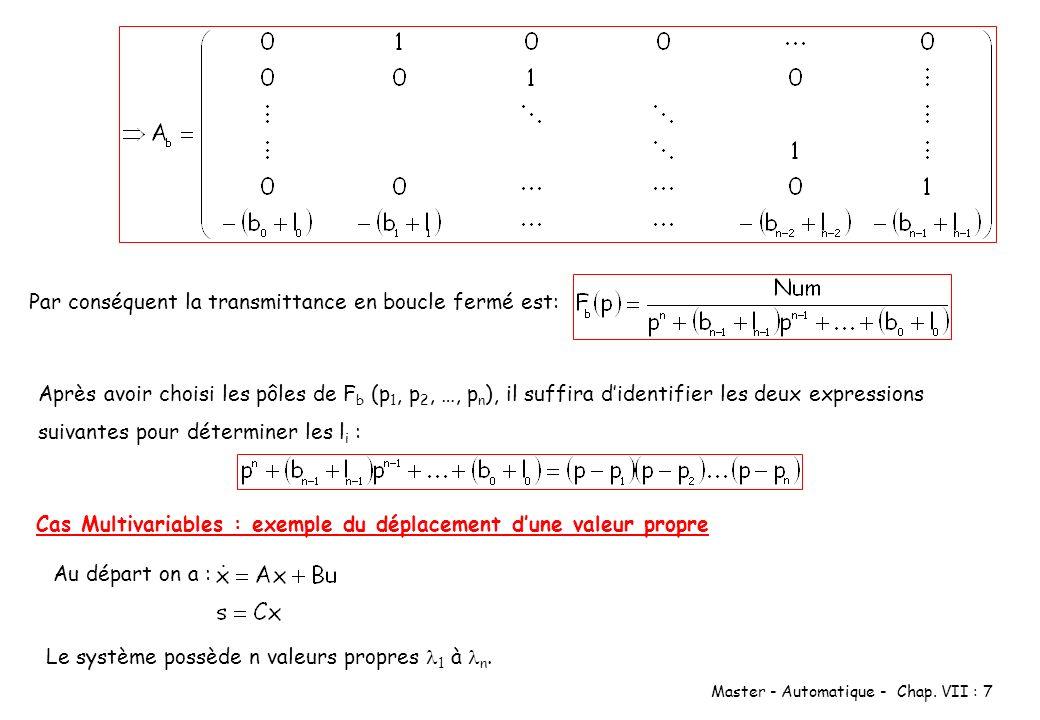 Master - Automatique - Chap. VII : 7 Par conséquent la transmittance en boucle fermé est: Après avoir choisi les pôles de F b (p 1, p 2, …, p n ), il