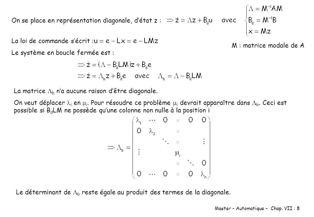 Master - Automatique - Chap. VII : 8 On se place en représentation diagonale, détat z : M : matrice modale de A La loi de commande sécrit : Le système