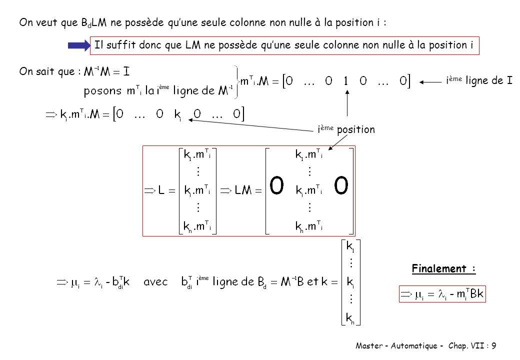 Master - Automatique - Chap. VII : 9 On veut que B d LM ne possède quune seule colonne non nulle à la position i : Il suffit donc que LM ne possède qu
