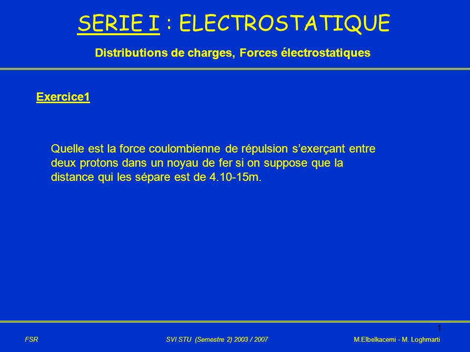 12 X O A a/2 i B +q -q M 2ème cas: le point M est à gauche du point A Le champ électrique crée par les 2charges au point M est: Avec: et EAEA EBEB FSR SVI STU (Semestre 2) 2003 / 2007 M.Elbelkacemi - M.