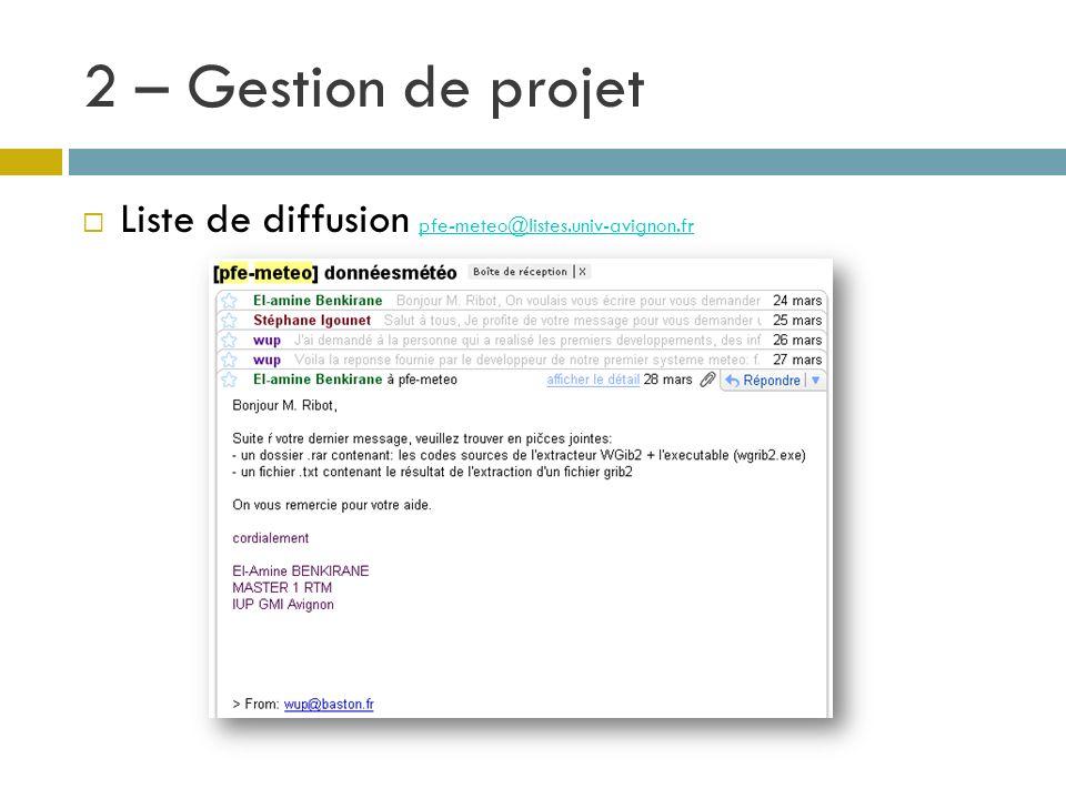 2 – Gestion de projet Liste de diffusion pfe-meteo@listes.univ-avignon.fr pfe-meteo@listes.univ-avignon.fr
