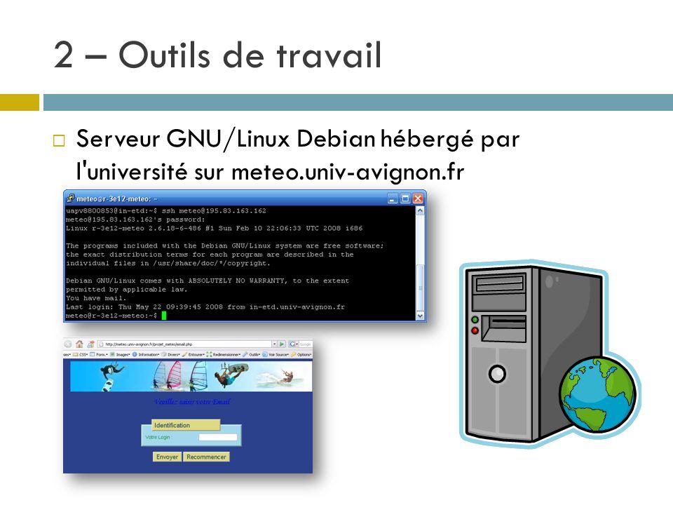 2 – Outils de travail Serveur GNU/Linux Debian hébergé par l'université sur meteo.univ-avignon.fr