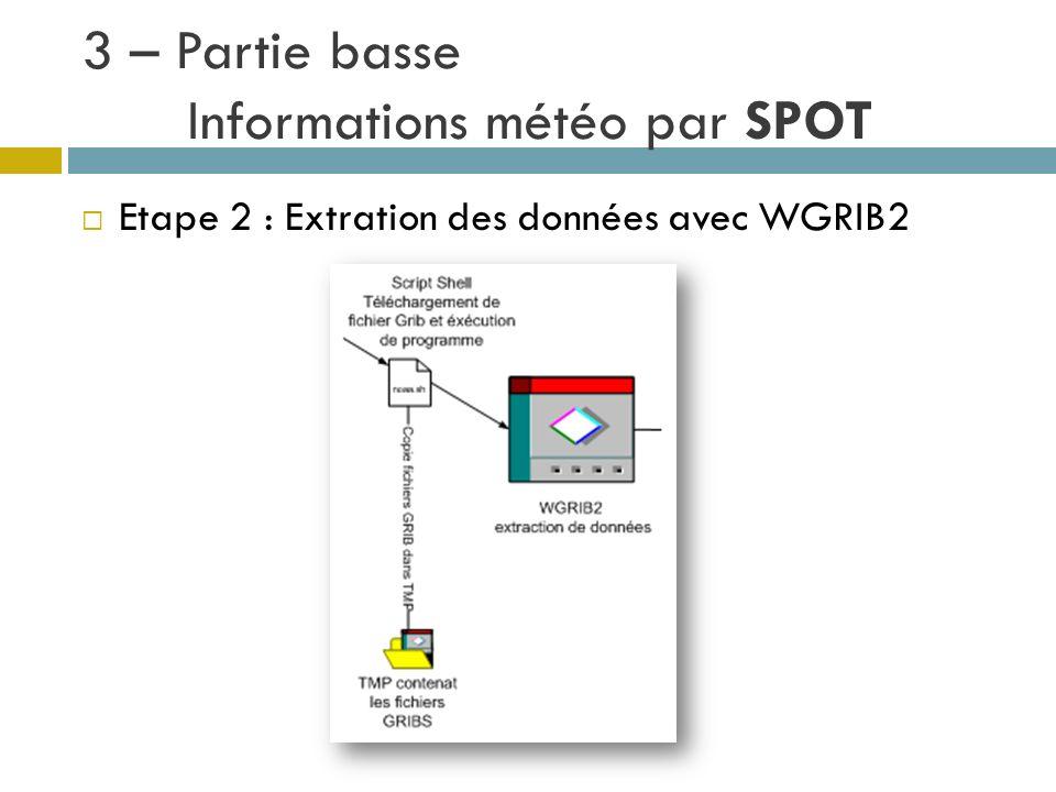3 – Partie basse Informations météo par SPOT Etape 2 : Extration des données avec WGRIB2