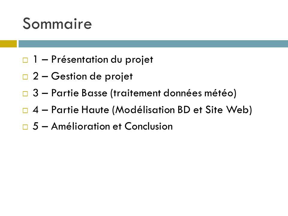 Sommaire 1 – Présentation du projet 2 – Gestion de projet 3 – Partie Basse (traitement données météo) 4 – Partie Haute (Modélisation BD et Site Web) 5