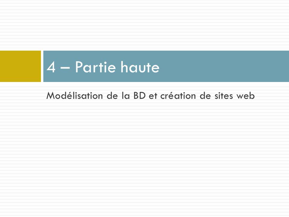 Modélisation de la BD et création de sites web 4 – Partie haute