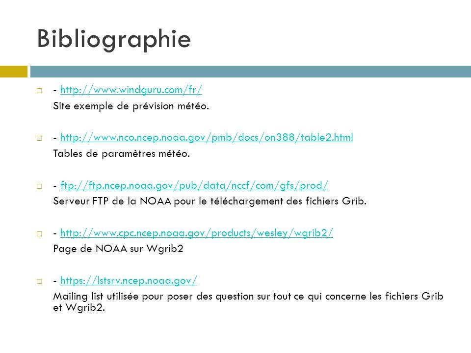 Bibliographie - http://www.windguru.com/fr/http://www.windguru.com/fr/ Site exemple de prévision météo. - http://www.nco.ncep.noaa.gov/pmb/docs/on388/