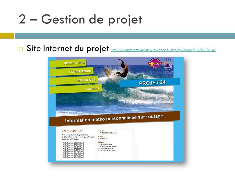 Site Internet du projet http://projets-gmi.iup.univ-avignon.fr/projets/proj0708/M1/p24/ http://projets-gmi.iup.univ-avignon.fr/projets/proj0708/M1/p24