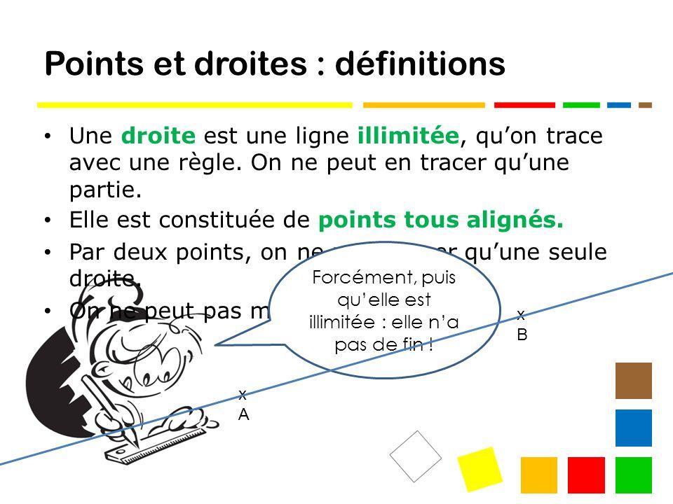 Points et droites : définitions Une droite est une ligne illimitée, quon trace avec une règle.
