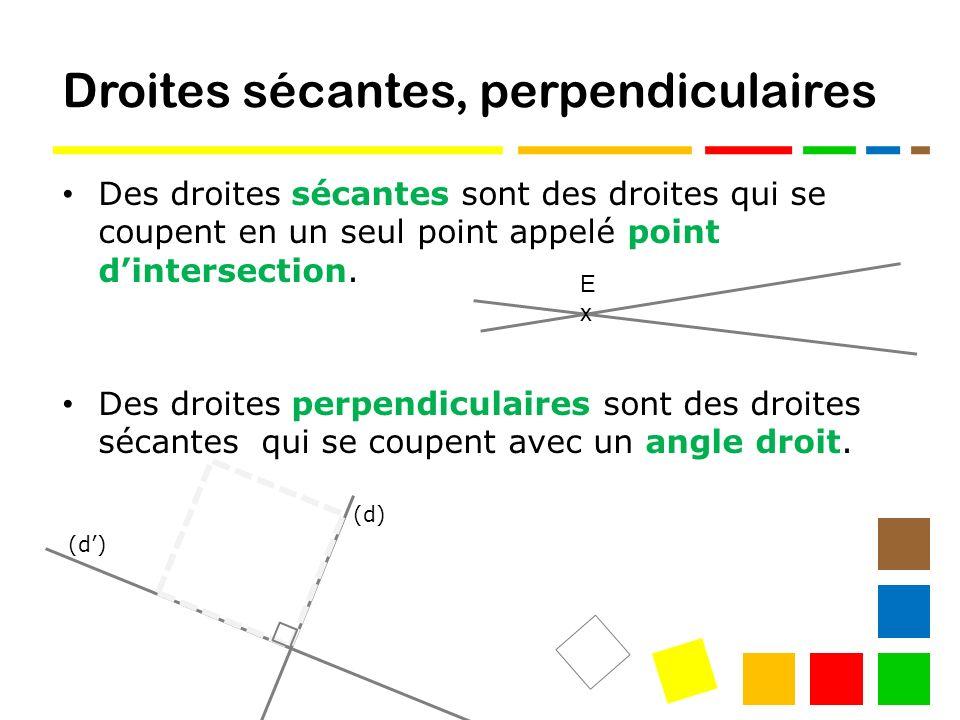Droites sécantes, perpendiculaires Des droites sécantes sont des droites qui se coupent en un seul point appelé point dintersection.