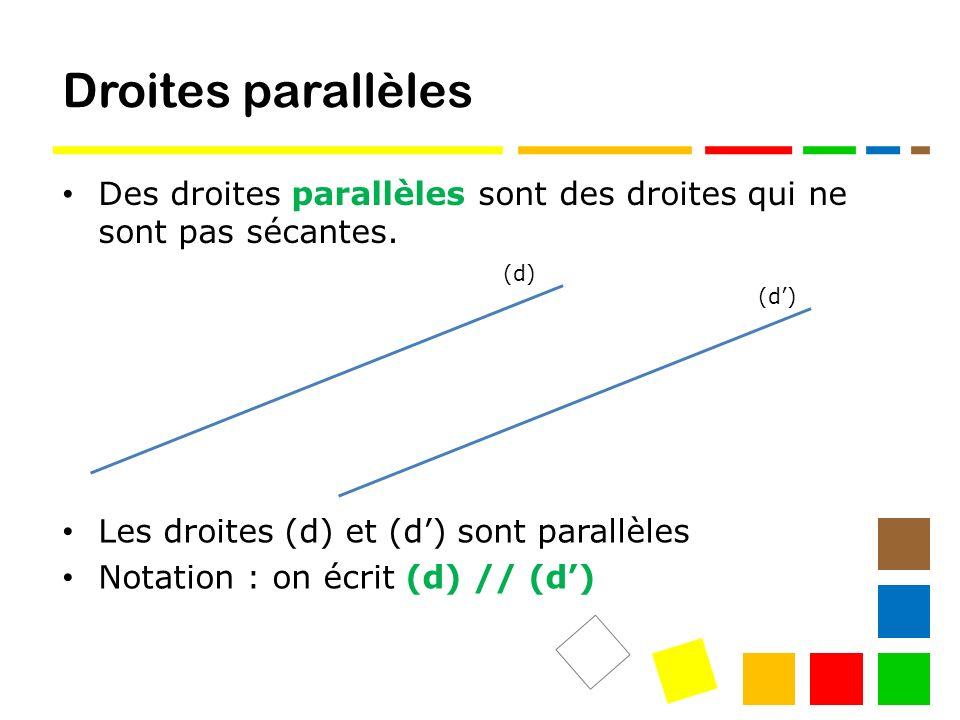 Droites parallèles Des droites parallèles sont des droites qui ne sont pas sécantes.
