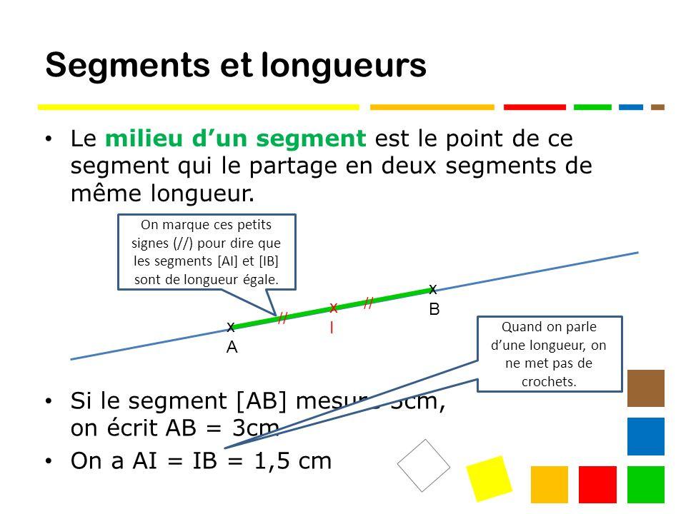 Segments et longueurs Le milieu dun segment est le point de ce segment qui le partage en deux segments de même longueur.
